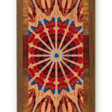 Kaleidoscope Design Wooden Bookmark on Cherry with Brown Suede Tassel