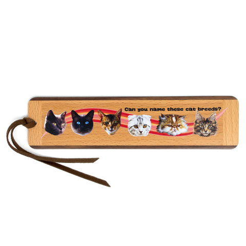 Quiz Bookmark - Cat Breeds Two-Sided Handmade Wooden Bookmark with Tassel