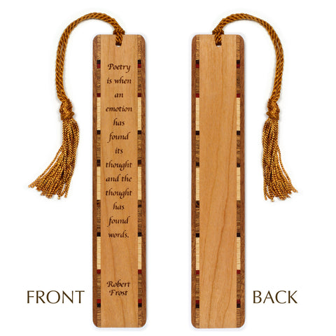 Robert Frost Poetry Quote Engraved Wooden Bookmark with Tassel