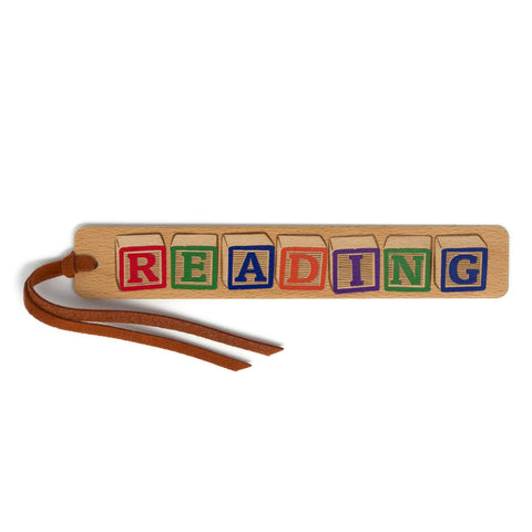 Colorful Kids Building Blocks - Reading - Engraved and Colored Wooden Bookmark with Tassel
