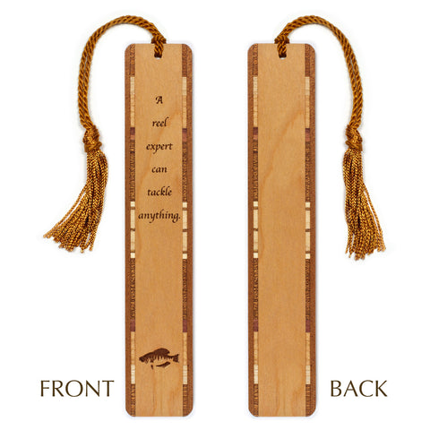 Fishing Quote - Engraved Wooden Hand Made Bookmark with Tassel