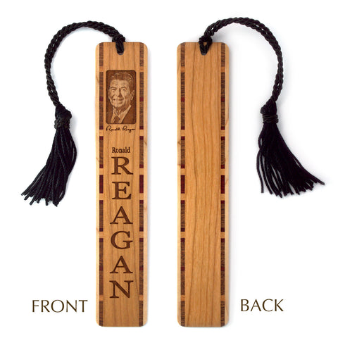 Ronald Reagan Engraved Wooden Bookmark with Black Rope Tassel