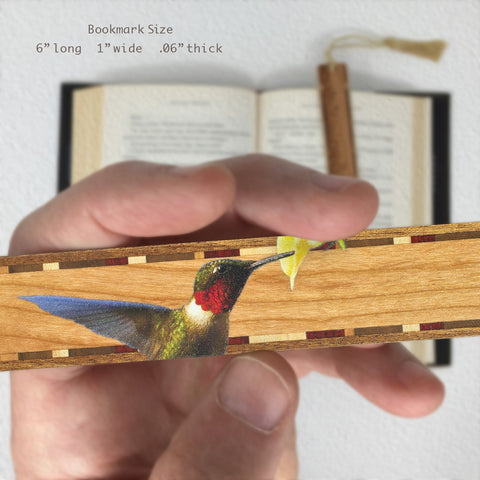 Ruby-throated Hummingbird on Cherry Wooden Bookmark with Tassel