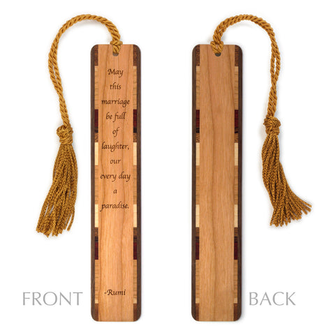 Poetic Marriage Quote by Rumi Engraved Wood Bookmark With Inlays and Tassel