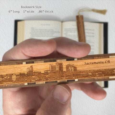 Sacramento California Skyline Engraved Wooden Bookmark with Tassel