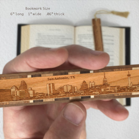 San Antonio Texas Skyline Engraved Wooden Bookmark with Tassel