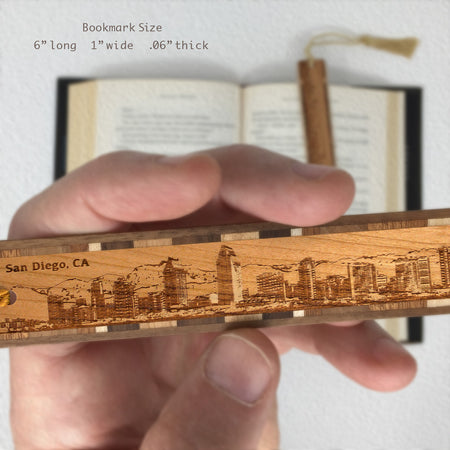 San Diego California Cityscape Skyline Engraved Wooden Bookmark with Tassel