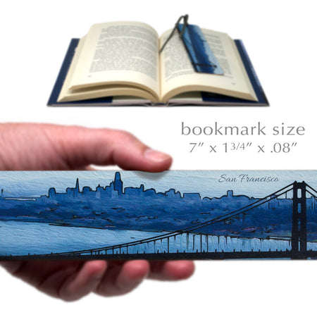 San Francisco Colorful Panoramic Skyline, Wooden Bookmark with Suede Tassel