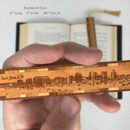 San Jose California Downtown Panoramic Cityscape Engraved Wooden Bookmark with Tassel