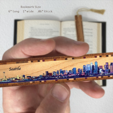 Seattle Panoramic Skyline on Maple Wood Bookmark with Navy Rope Tassel