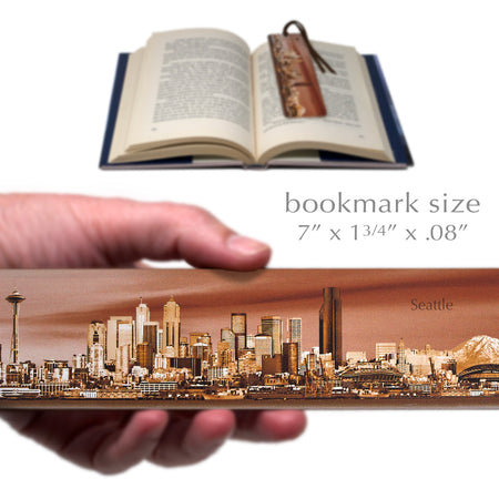 Seattle Panoramic Skyline Colorful Wooden Bookmark with Suede Tassel
