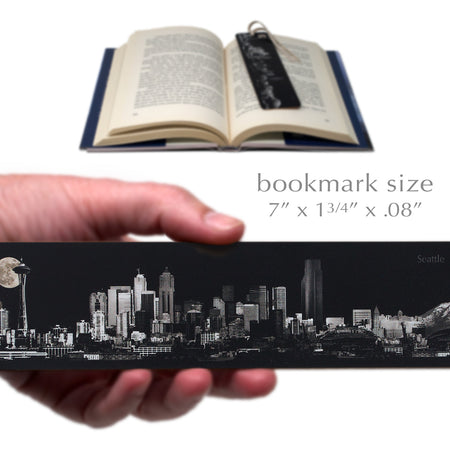 Seattle Moonlit Panoramic Skyline Wood Bookmark with Suede Tassel
