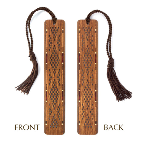 Diamond Plate Design Laser Cut Wooden Bookmark with Tassel