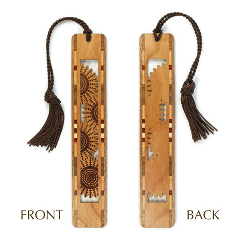 Gears Design - Spiral Cut out- Engraved Wooden Bookmark with Tassel