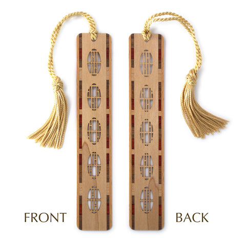 Port Holes Design Laser Cut Engraved Wooden Bookmark with Tassel