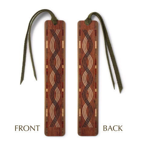 Triple Curve Design Laser Engraved Wooden Bookmark with Tassel