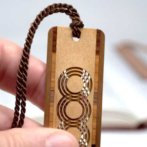 Intertwining Circles Cut out- Engraved Wooden Bookmark with Tassel