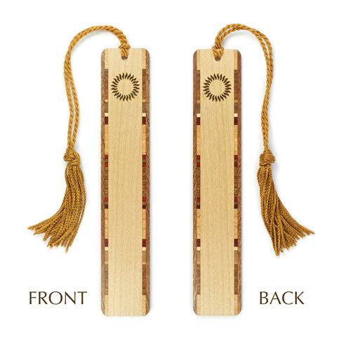 Sun - Solar Flare Engraved Cut out Wooden Bookmark with Tassel