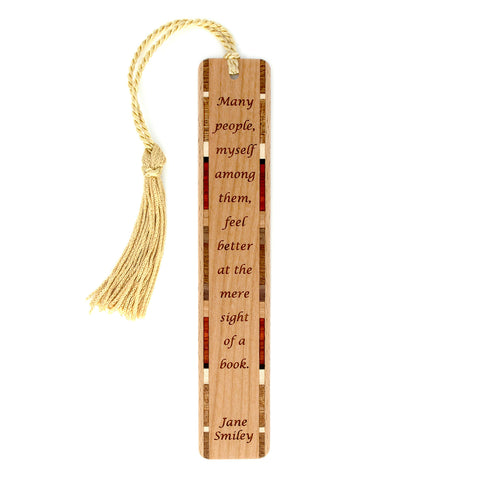 Feel Better Book Quote by Jane Smiley Wooden Bookmark with Tassel