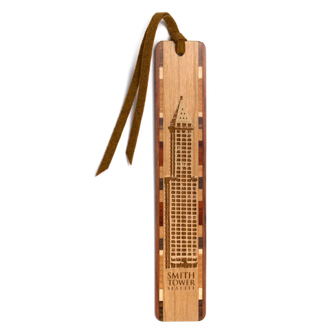 Buildings - Seattle's Historic Smith Tower Artwork Engraved On Hand Made Wooden Bookmark with Tassel