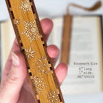 Snow Flakes Engraved Wooden Bookmark with Tassel