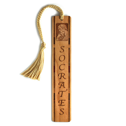 Socrates - Greek Philosopher Engraved Wooden Bookmark with Gold Rope Tassel