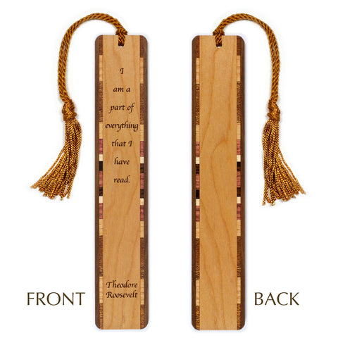 Theodore Roosevelt - Read - Quote Engraved Wooden Bookmark with Tassel