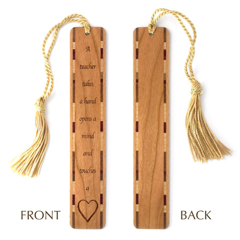 Teacher Touches a Heart Quote Engraved Wooden Bookmark with Tassel