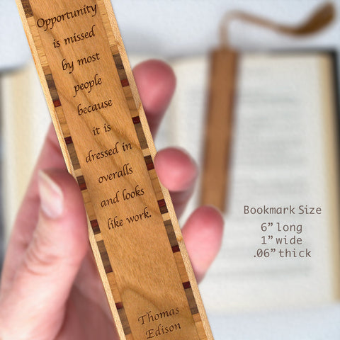Opportunity Quote by Thomas Edison Engraved Wood Bookmark With Inlays and Tassel