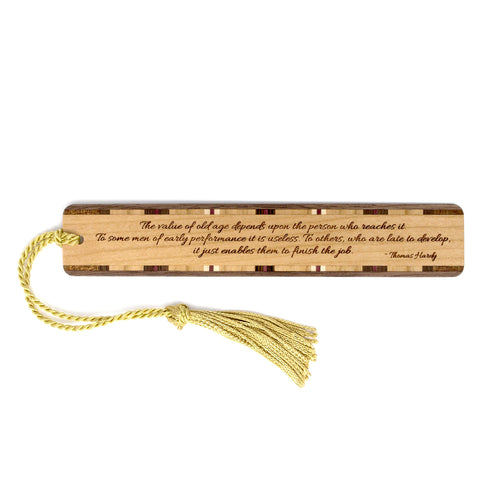 Engraved Wooden Bookmark- Quote by Author Thomas Hardy with Gold Tassel