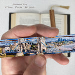 London - Tower Bridge Downtown Cityscape in Color Wooden Bookmark with Tassel
