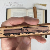 Train - Historic Milwaukee Style Locomotive Hand Made Wooden Bookmark with Tassel