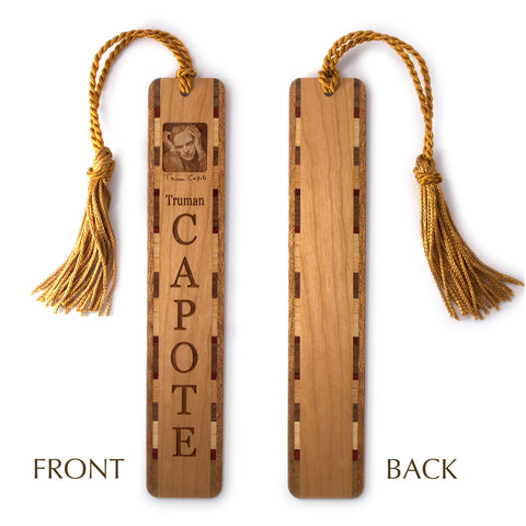 Truman Capote Engraved Wooden Bookmark with Gold Rope Tassel