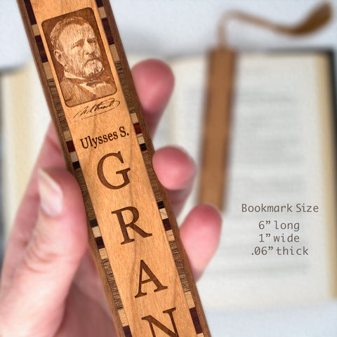 Ulysses S. Grant Engraved Wooden Bookmark with Rope Tassel