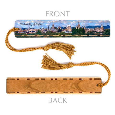 University of Oxford Color Photograph on Handmade Wooden Bookmark with Tassel