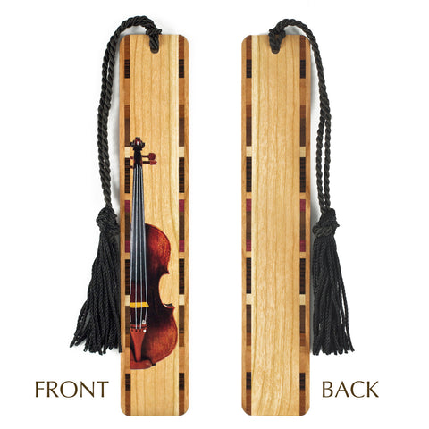 Musical Instrument - Violin in Color - Wooden Bookmark with Tassel