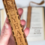 W.B. Yeats Engraved Wooden Bookmark with Brown Rope Tassel