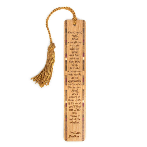 Read Everything Quote by William Faulkner Engraved Wooden Bookmark with Tassel
