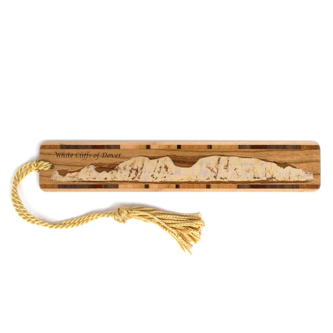 White Cliffs of Dover Laser Engraved Wooden Bookmark with Tassel