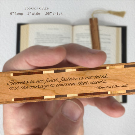 Winston Churchill Quote - Engraved Wooden Bookmark with Copper Tassel