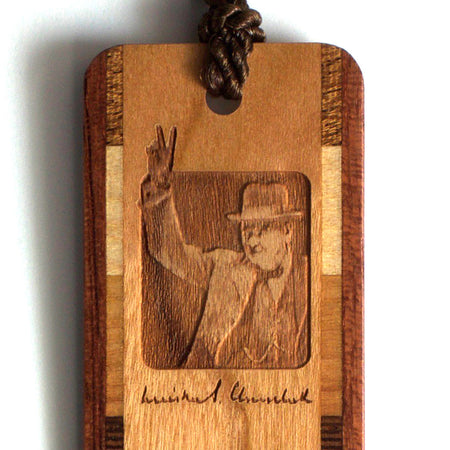 Winston Churchill Engraved Wooden Bookmark with Brown Rope Tassel