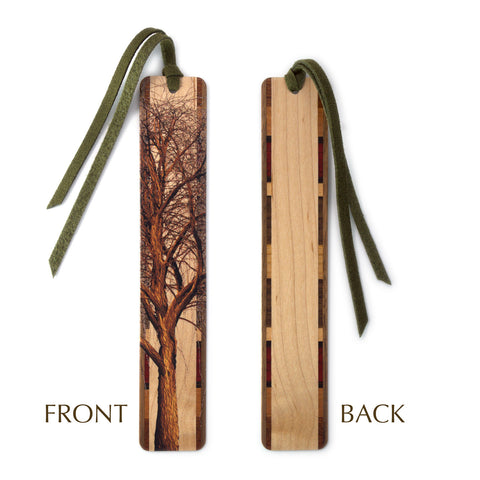 Winter Willow Tree on Maple Wood Bookmark with Green Suede Tassel
