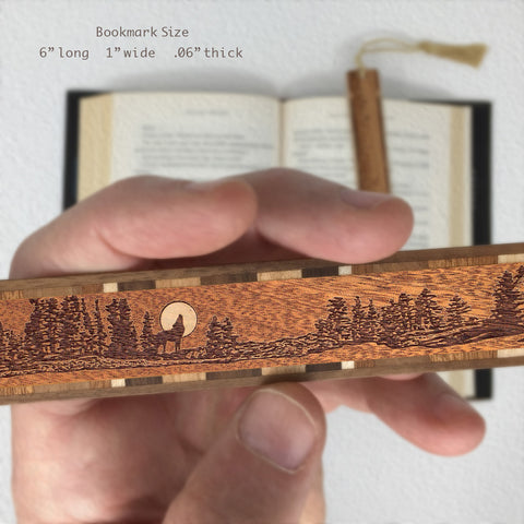 Wolf Howls at Full Moon - Laser Engraved Wooden Bookmark with Tassel
