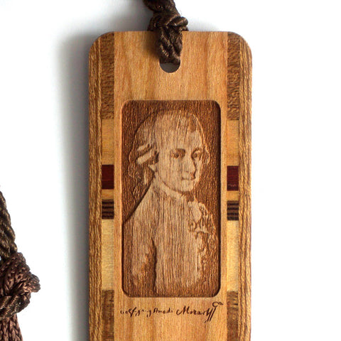 Mozart - Wolfgang Amadeus Mozart Photo with Signature Engraved Wooden Bookmark with Tassel