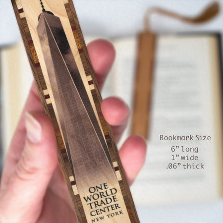 Buildings - One World Trade Center Printed Directly On Wooden Bookmark with Tassel