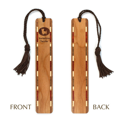 Dog Bookmark - Yorkshire Terrier Engraved Wooden Bookmark with Tassel