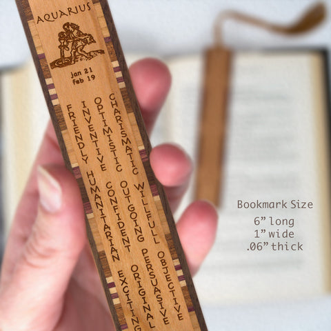 Aquarius Zodiac Sign Artwork and Positive Personality Traits Engraved Wood Bookmark With Inlays and Tassel