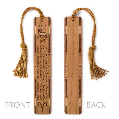 Aries Zodiac Sign Artwork and Positive Personality Traits Engraved Wood Bookmark With Inlays and Tassel