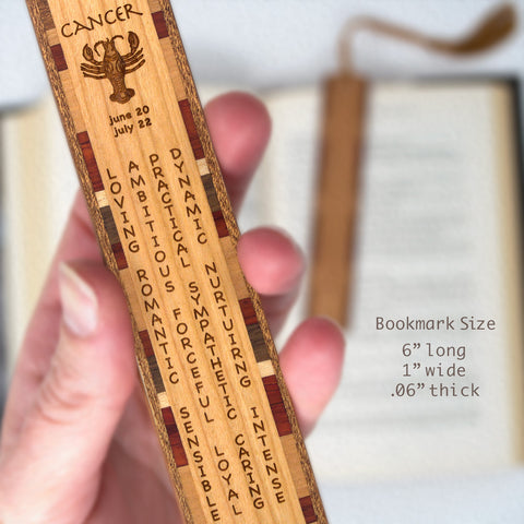 Cancer Zodiac Sign Artwork and Positive Personality Traits Engraved Wood Bookmark With Inlays and Tassel