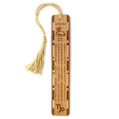 Capricorn Zodiac Sign Artwork and Positive Personality Traits Engraved Wood Bookmark With Inlays and Tassel